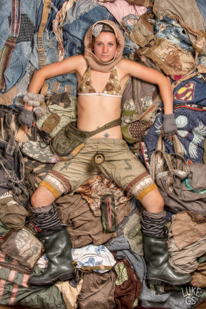 Aaron Meckling featured against fabric of her DIY waredrobe, looking like Tank Girl