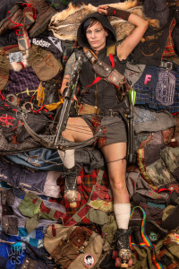 Terra Brie lays on her collection of DIY kilts and punk inspired up-cycled clothing.