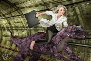 Stephany Mãnca rides a genetically engineered cybernetic dinosaur