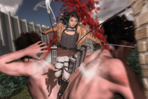 Kat Anna Saus-Gagnon cosplay as her Attack on Titan alternate personality!
