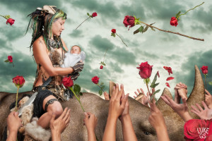 Roses fall on Jayme Octopede, a warrior princess who's rescued a stolen baby in this digital illustration by Luke GS