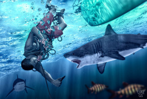 Myles is pulled underwater and needs to fend off sharks in this gigital illustration by Luke GS.