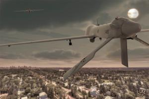 digital illustration by Luke GS of predator drones flying over Edmonton AB