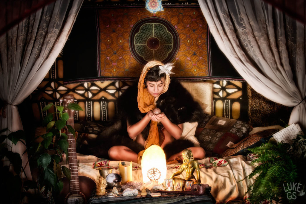 Isa sits at her personal altar by Luke GS