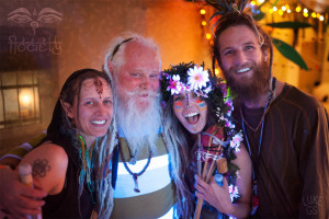 Elves pose at Flociety's Rager in the Rainforest party