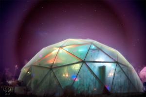 Dome at night during Symmetree gathering