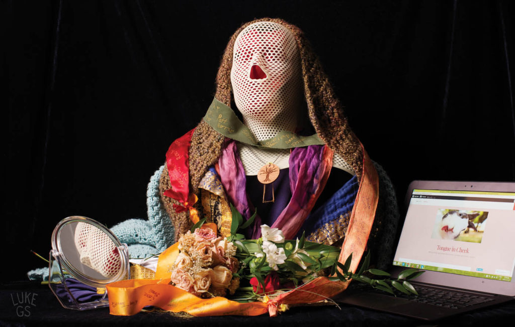 an arrangement of objects relating to Joanna's fight with oral cancer