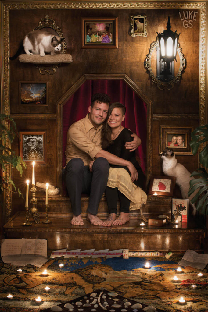 Luke and Tara sit on an altar to their relationship to celebrate their engagement