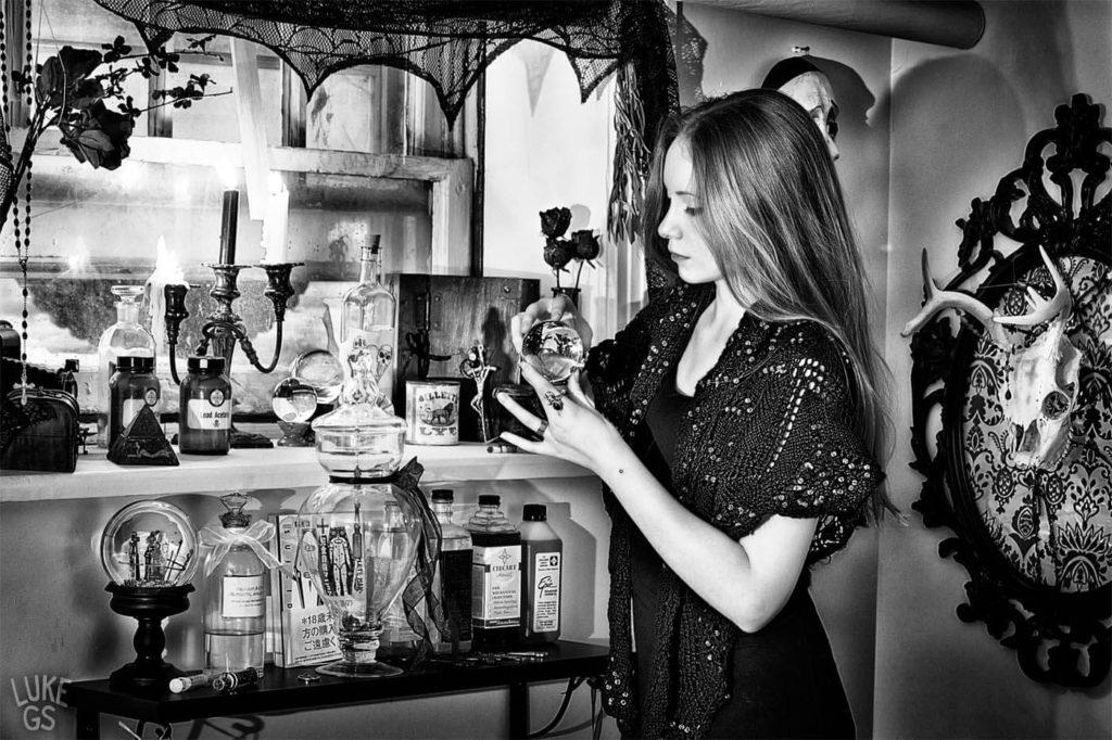Samantha with her magik stash