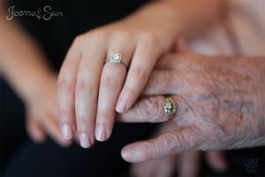Wedding rings of grandma and grand daughter