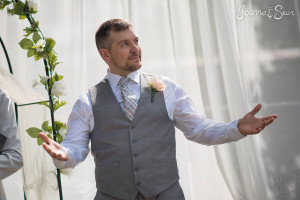 Sean waits for Joanna on their wedding day